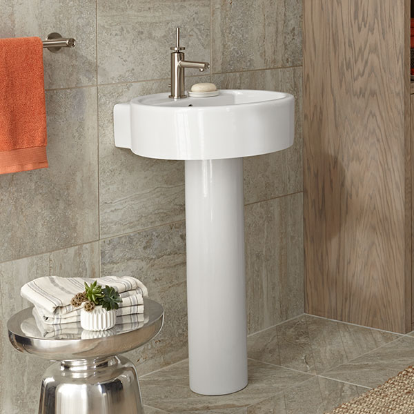 Pedestal Sink - Cossu 20 inch Round Pedestal Lavatory by DXV on bathrooms with hardwood floors, bathrooms with storage cabinets, bathrooms with wainscoting, bathrooms with track lighting, bathrooms with copper sinks, bathrooms with kitchen cabinets, bathrooms with molding, bathrooms with corner sinks, bathrooms with vessel sinks, bathrooms with bowl sinks, bathrooms with windows, bathrooms with kitchen faucets, bathrooms with formica countertops, bathrooms with beadboard, bathrooms with wall mounted sinks, bathrooms with whirlpools, bathrooms with bathtubs, bathrooms with double sinks, bathrooms with square sinks, bathrooms with cabinet sinks,