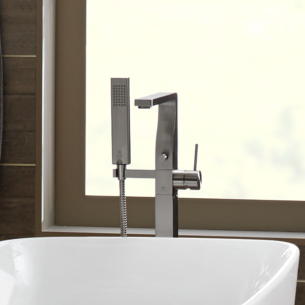 Square Floor Mount Bathtub Faucet