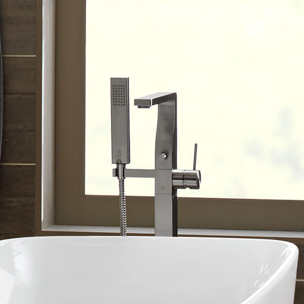DXV Square Floor Mount Bathtub Faucet Room Scene- Polished Chrome