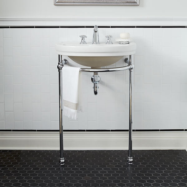 DXV St. George Console Sink Room Scene- Canvas White/Polished Chrome