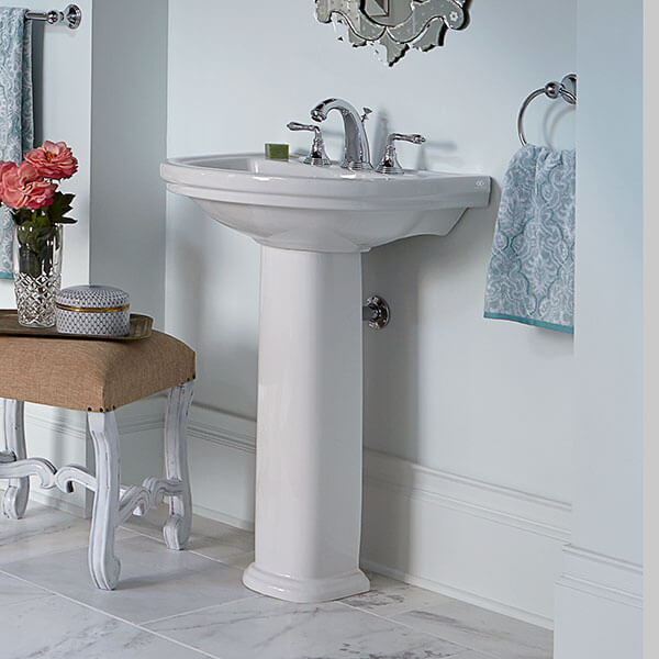 DXV St. George Pedestal Bathroom Sink Room Scene- Canvas White