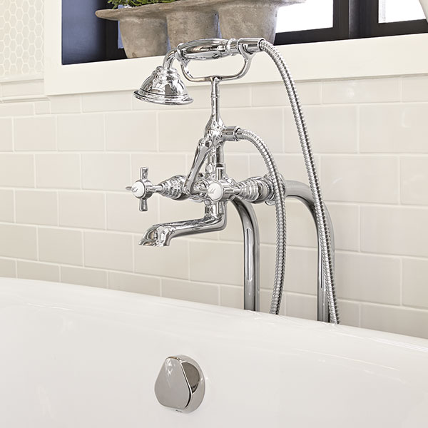 traditional floor mount bathtub faucet with landfair cross handles