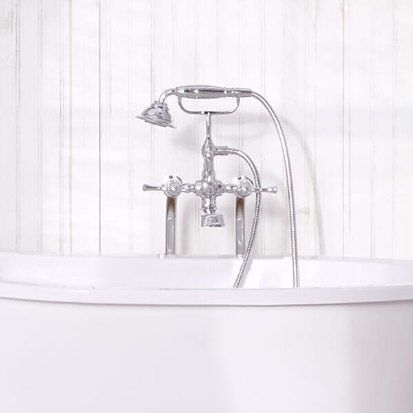DXV Transitional Floor-Mounted Bathtub Faucet with Randall Lever Handles Room Scene- Polished Chrome